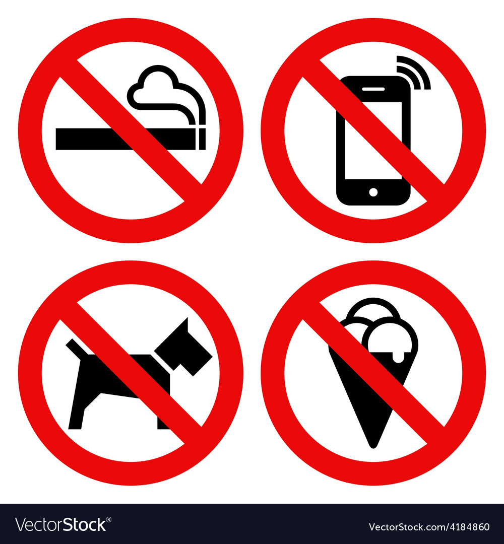 No smoking no cell phone no dogs and no eating vector | Price: 1 Credit (USD $1)
