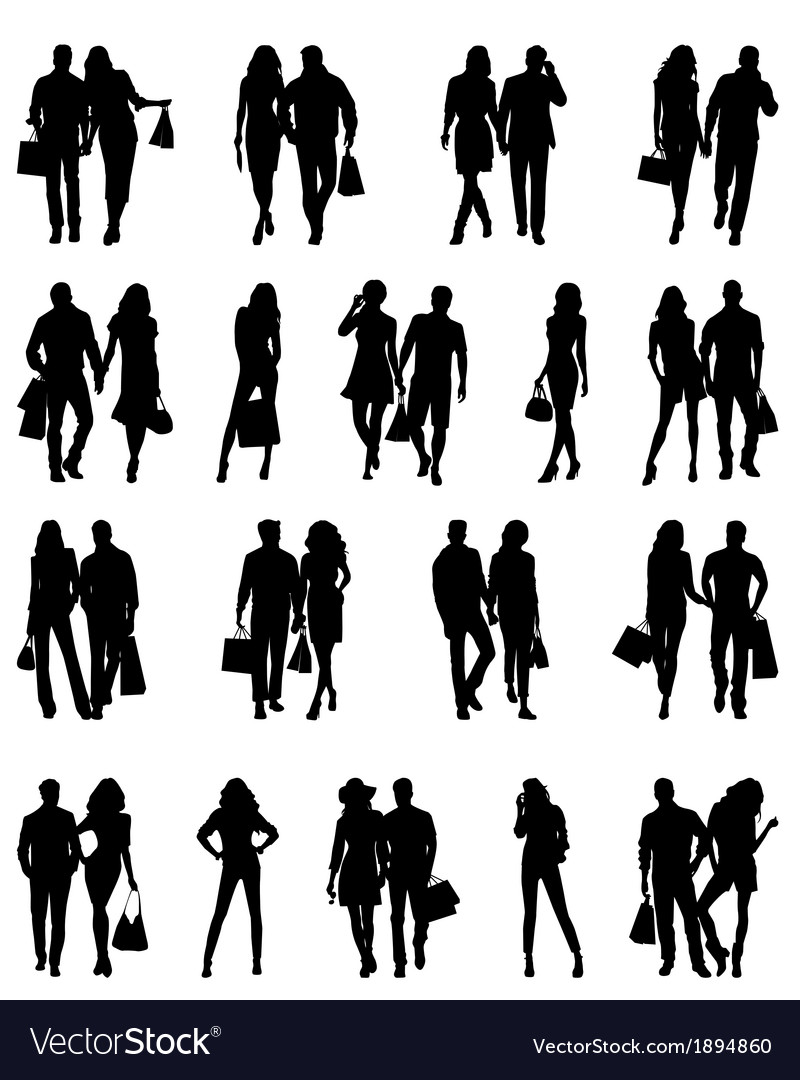 Silhouettes of happy family vector | Price: 1 Credit (USD $1)