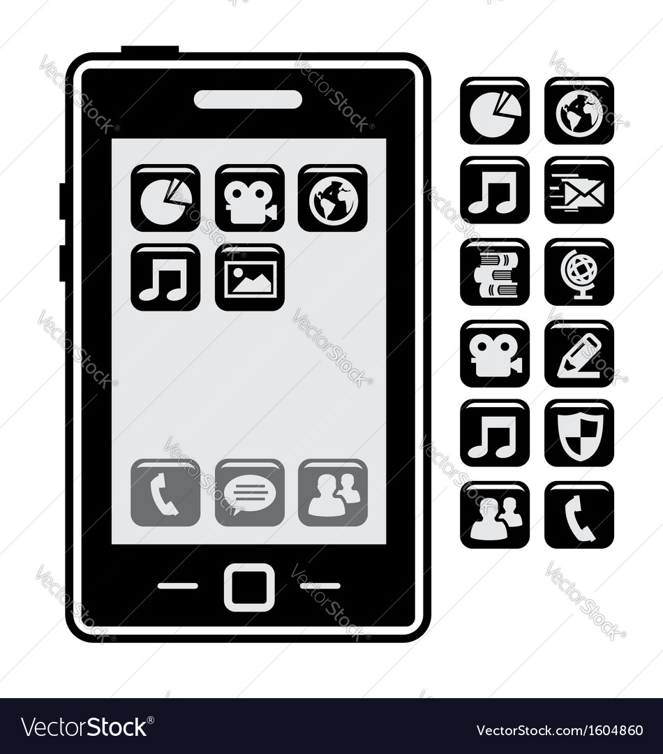 Smartphone with application vector | Price: 1 Credit (USD $1)