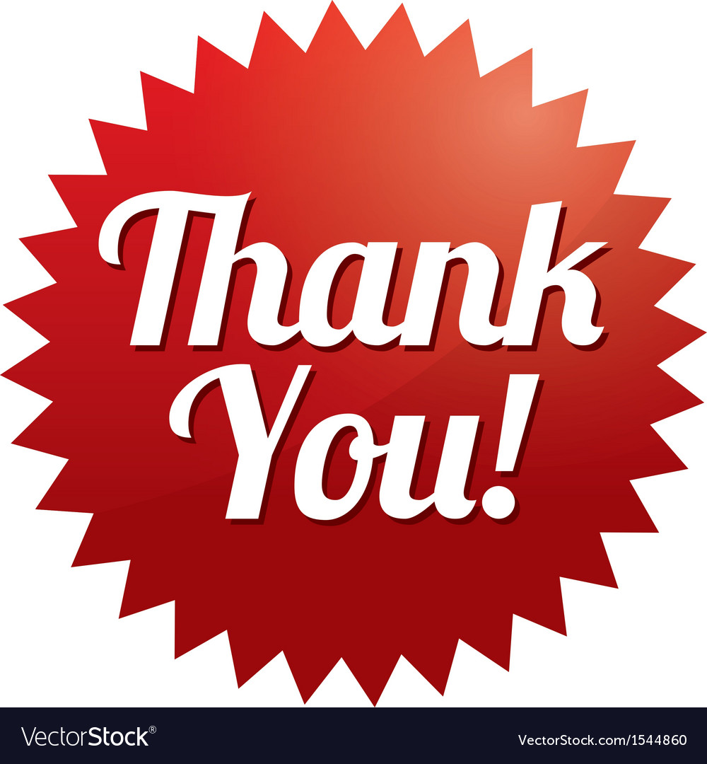 Thank you tag  red sticker icon for web vector | Price: 1 Credit (USD $1)