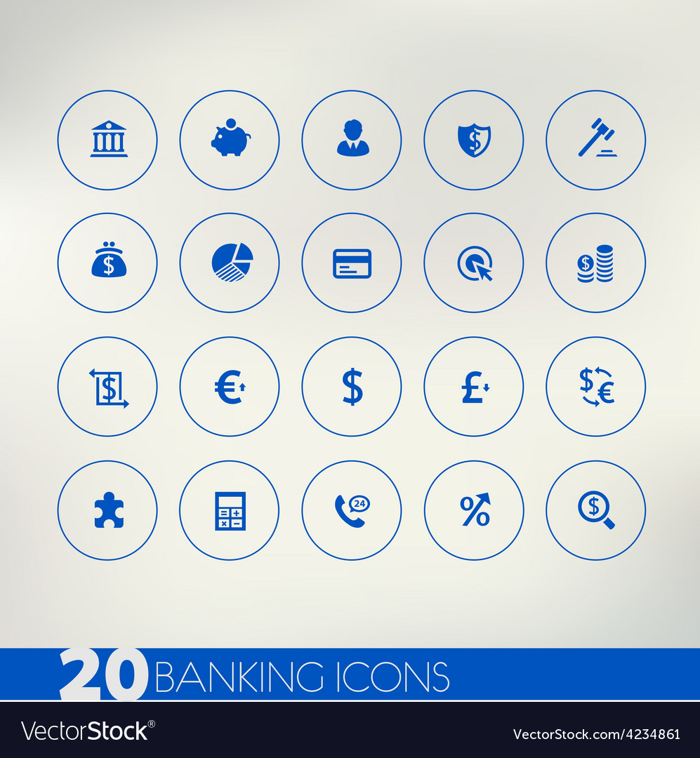 Banking blue icons on light background vector | Price: 1 Credit (USD $1)