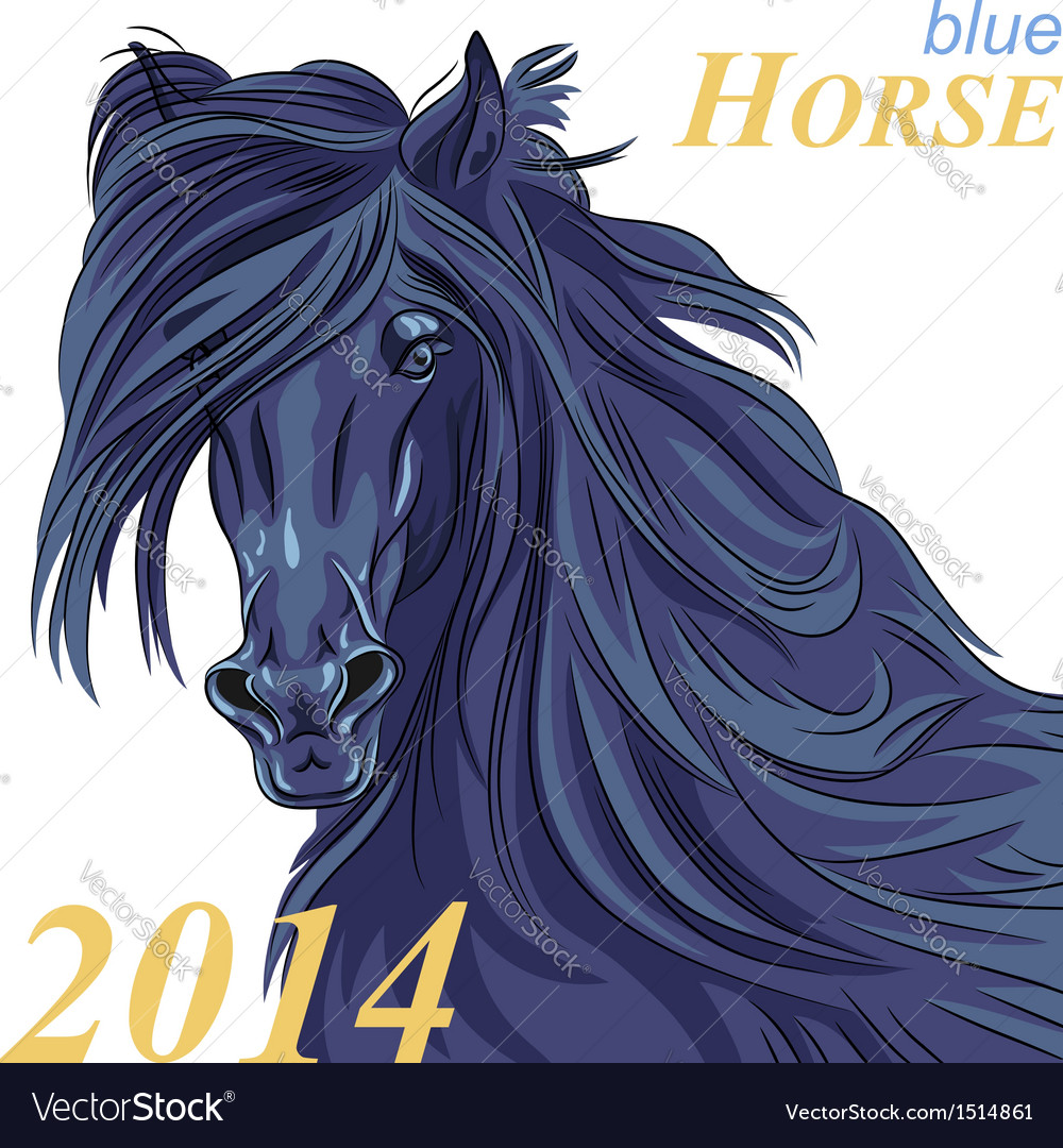 Black horse with a blue tint a symbol of 2014 vector | Price: 1 Credit (USD $1)