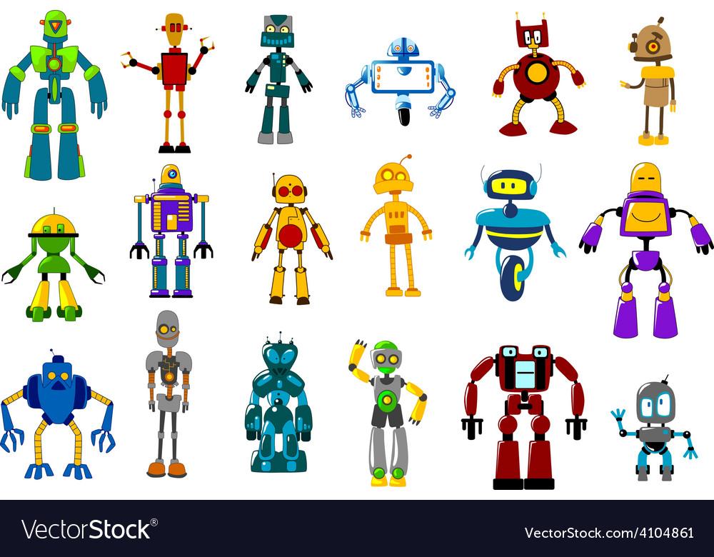 Cyborgs robots and aliens set vector | Price: 1 Credit (USD $1)