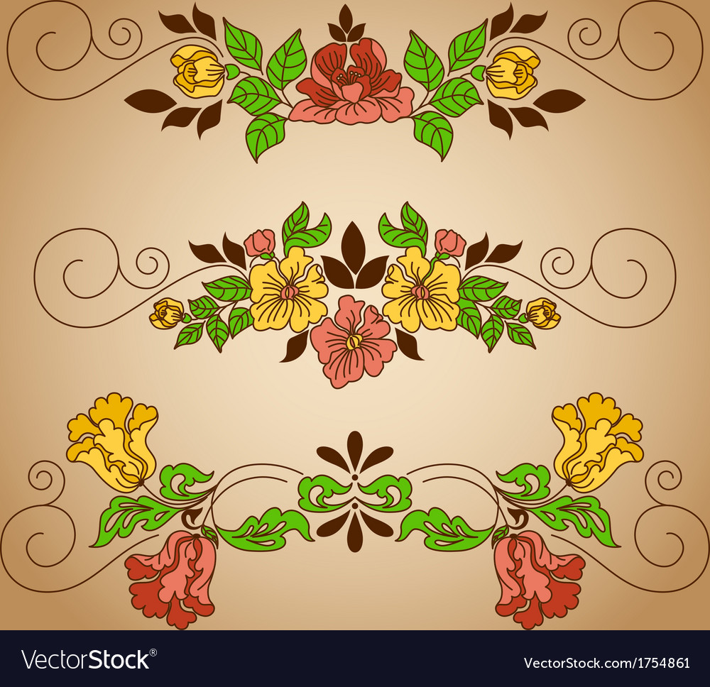 Drawing flowers vignette craft vector | Price: 1 Credit (USD $1)