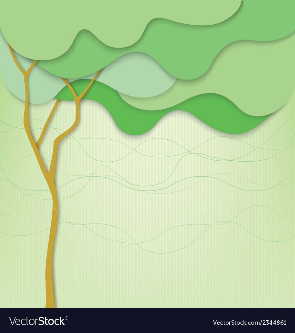 Green background with abstract tree and waves vector | Price: 1 Credit (USD $1)