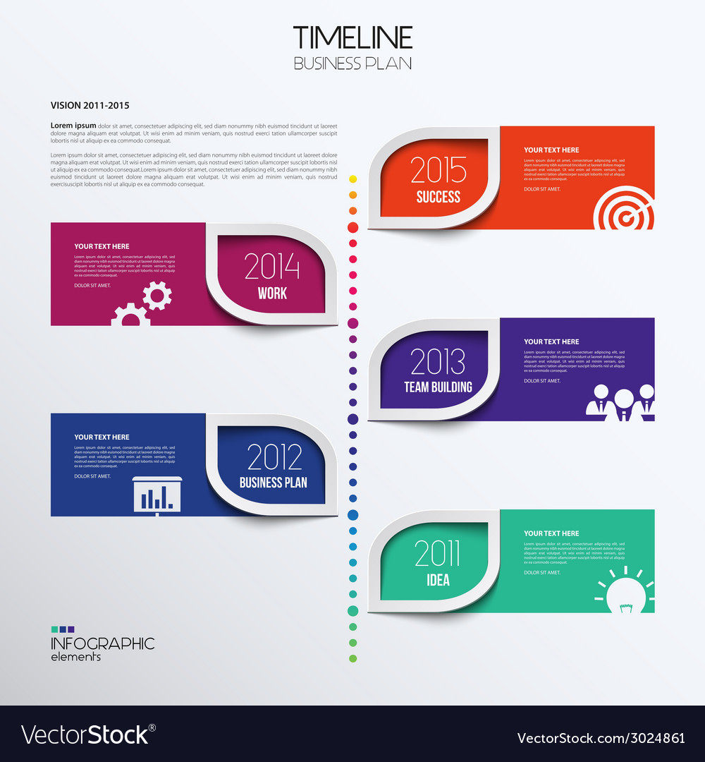 Infographic timeline showing business plan with vector | Price: 1 Credit (USD $1)