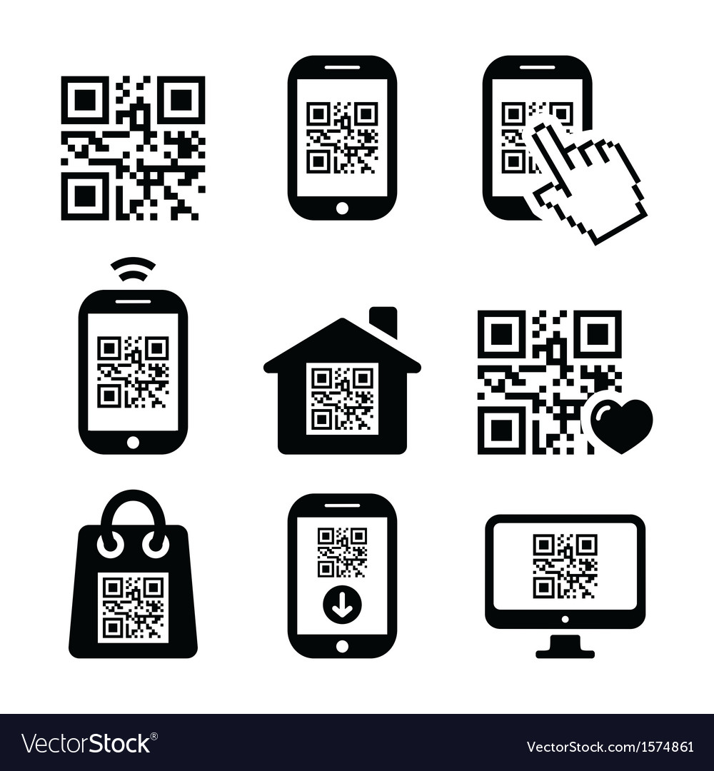 Qr code on mobile or cell phone icons set vector | Price: 1 Credit (USD $1)