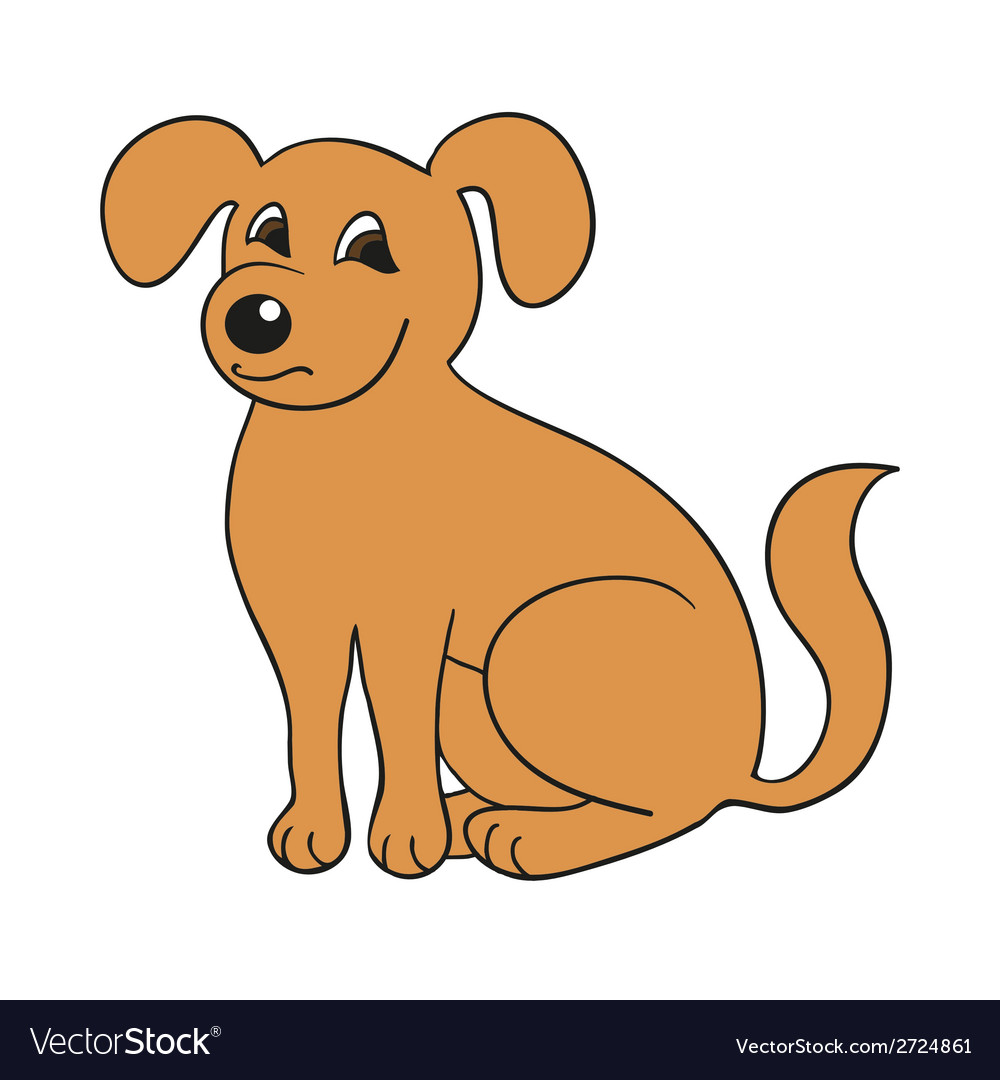 Red cute smiling dog on white background vector | Price: 1 Credit (USD $1)