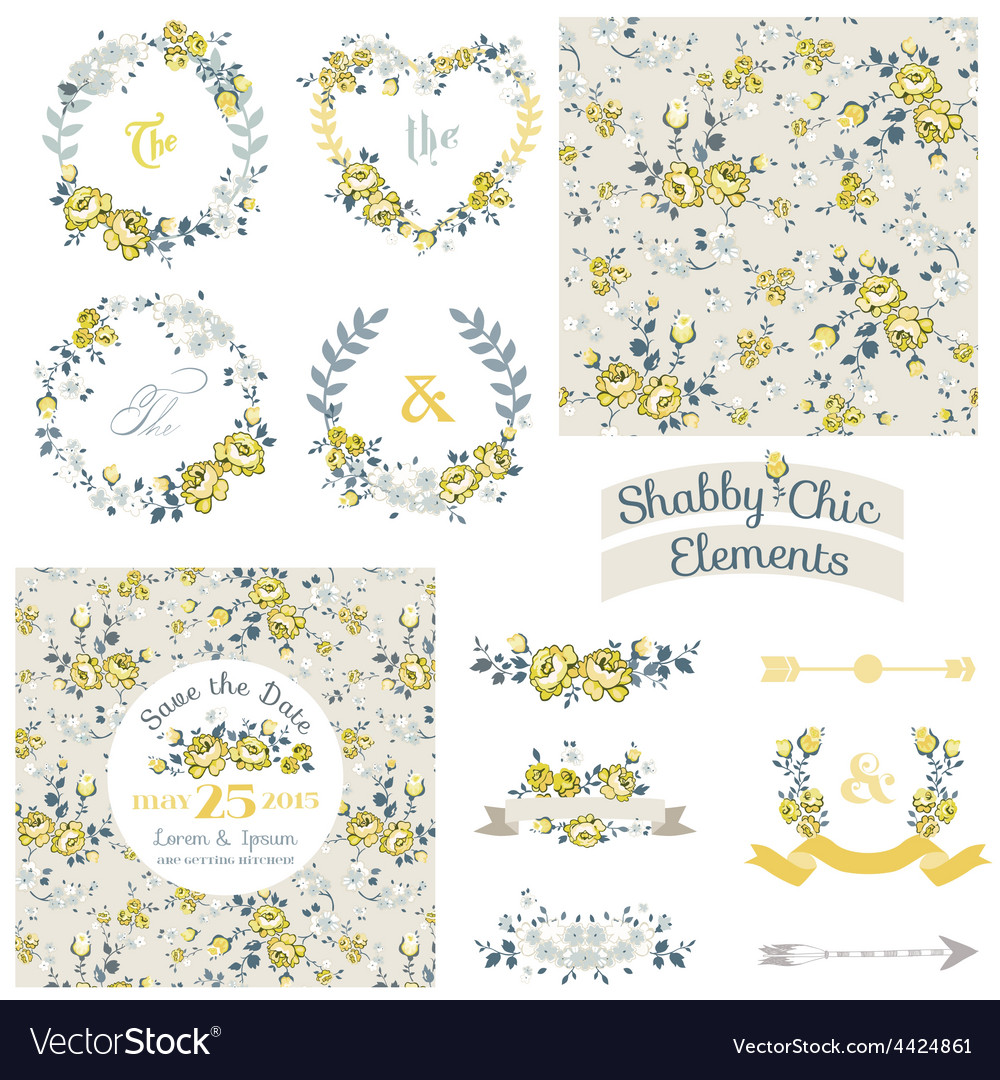 Vintage floral set - frames ribbons backgrounds vector   Price: 1 Credit (USD $1)