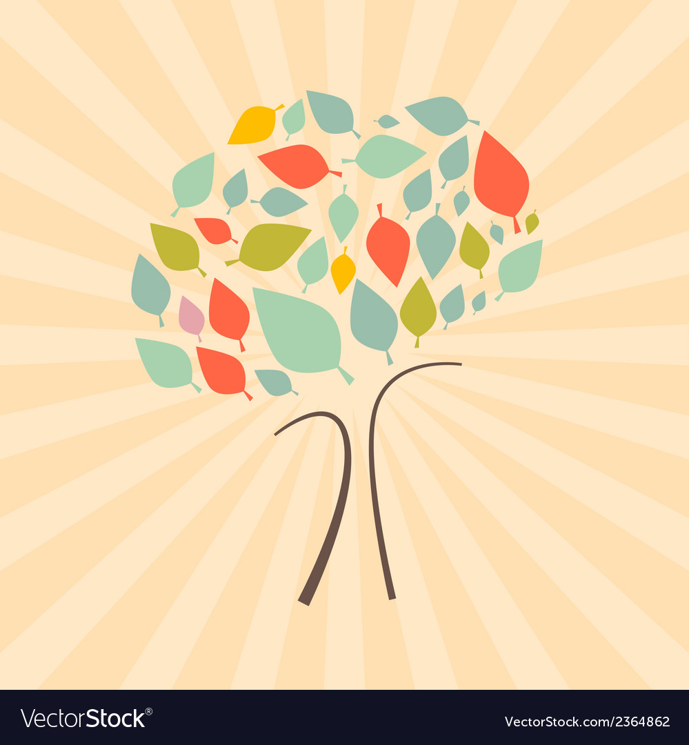 Abstract retro tree vector | Price: 1 Credit (USD $1)