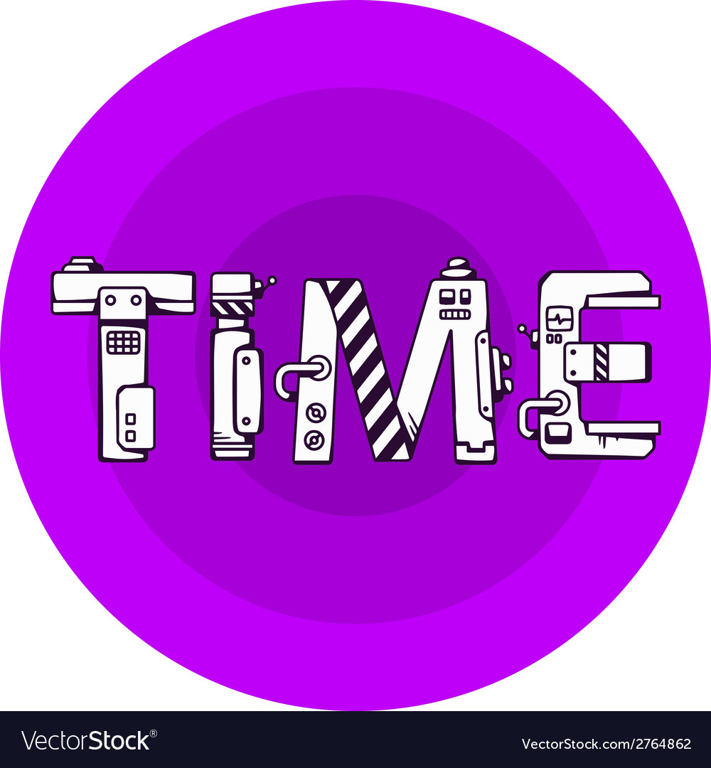 Bright of the word time in techno style on a vector | Price: 1 Credit (USD $1)