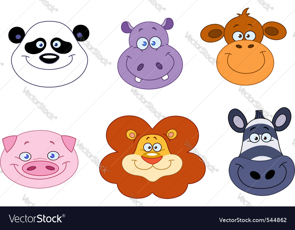 Cartoon animal heads vector | Price: 1 Credit (USD $1)