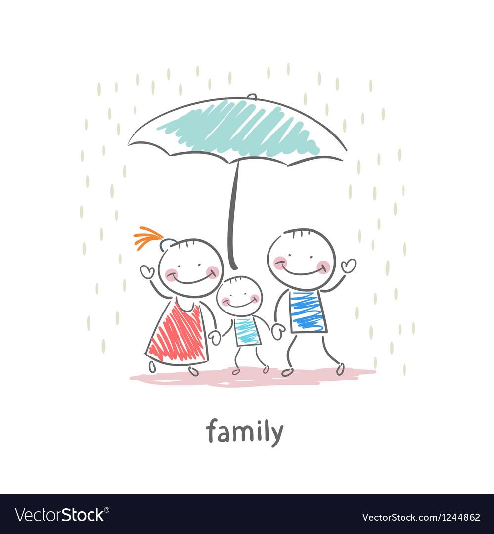 Family under umbrella vector | Price: 1 Credit (USD $1)