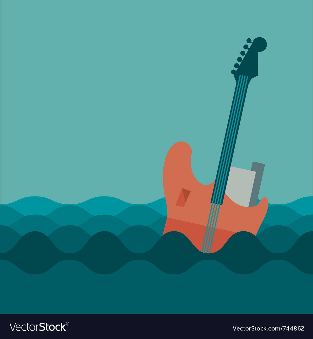 Floating guitar vector | Price: 1 Credit (USD $1)
