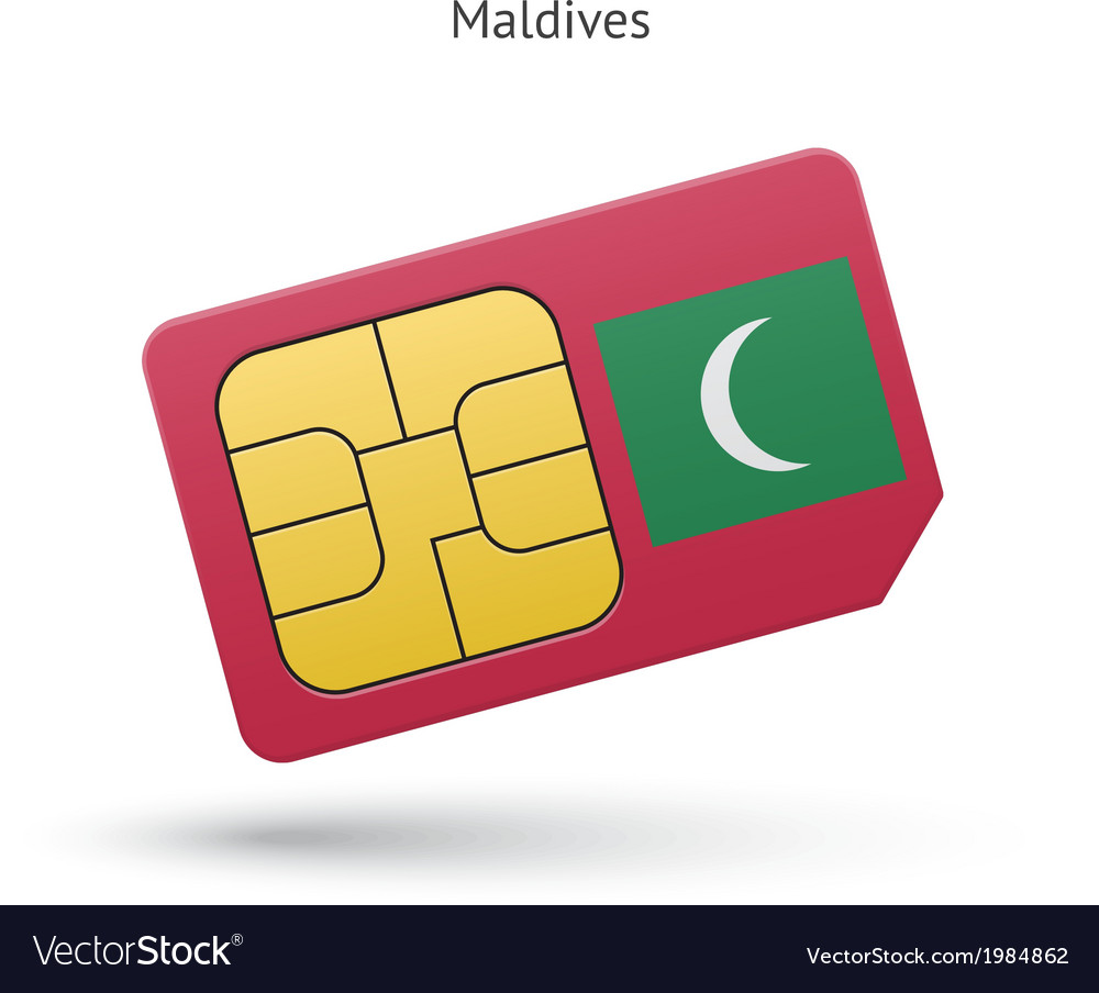 Maldives mobile phone sim card with flag vector | Price: 1 Credit (USD $1)