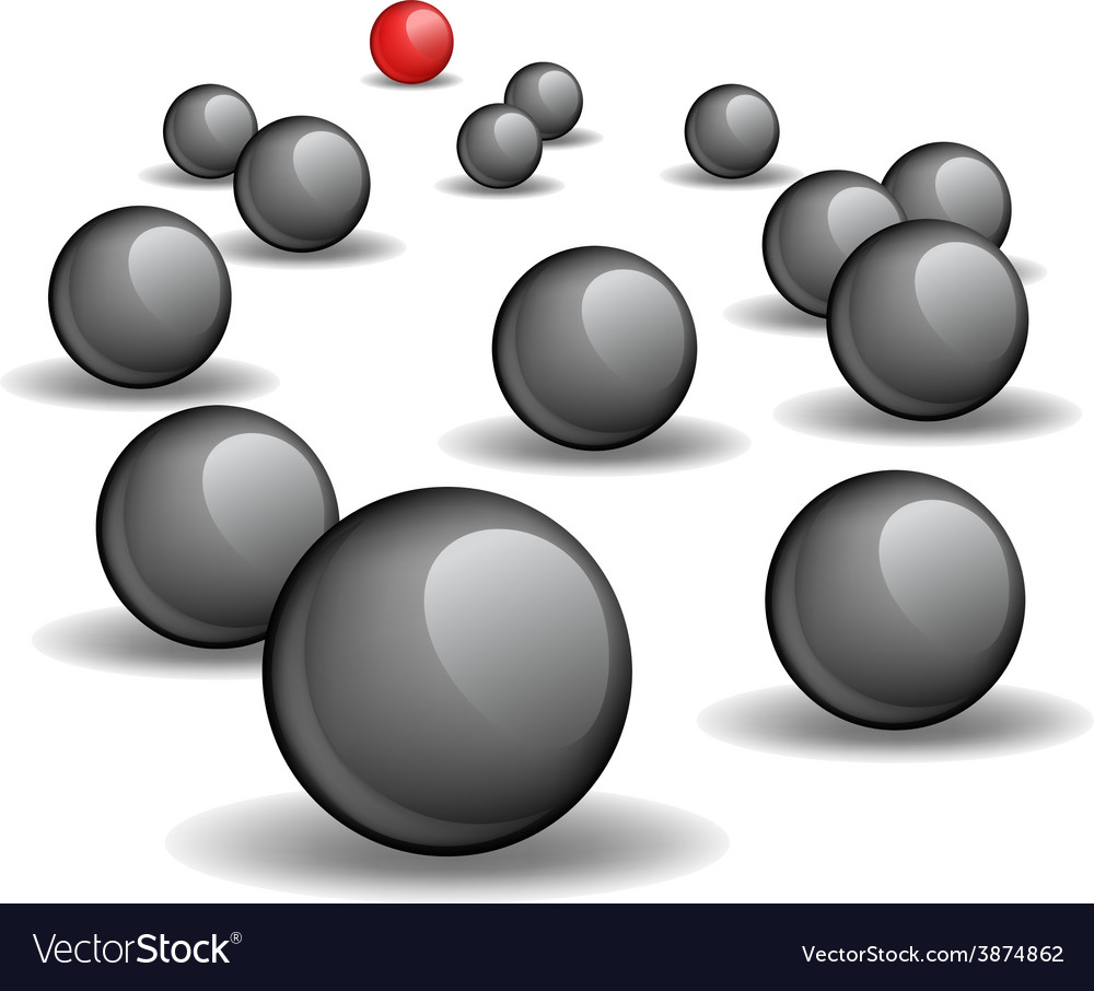 One red unique sphere lead crowd of black spheres vector | Price: 1 Credit (USD $1)
