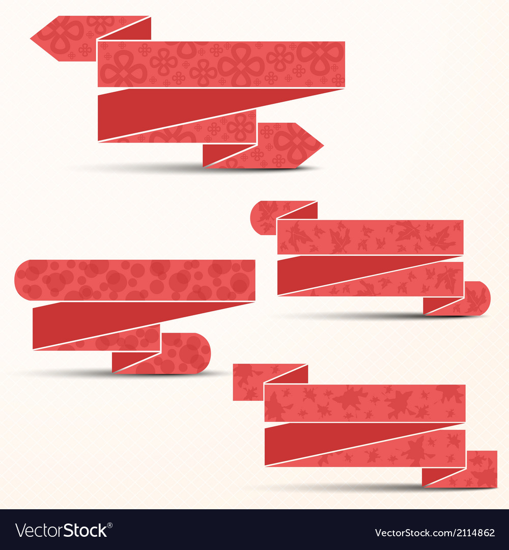 Pink ribbons with different textures vector | Price: 1 Credit (USD $1)