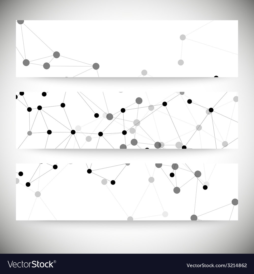 Set of horizontal banners molecule structure gray vector   Price: 1 Credit (USD $1)