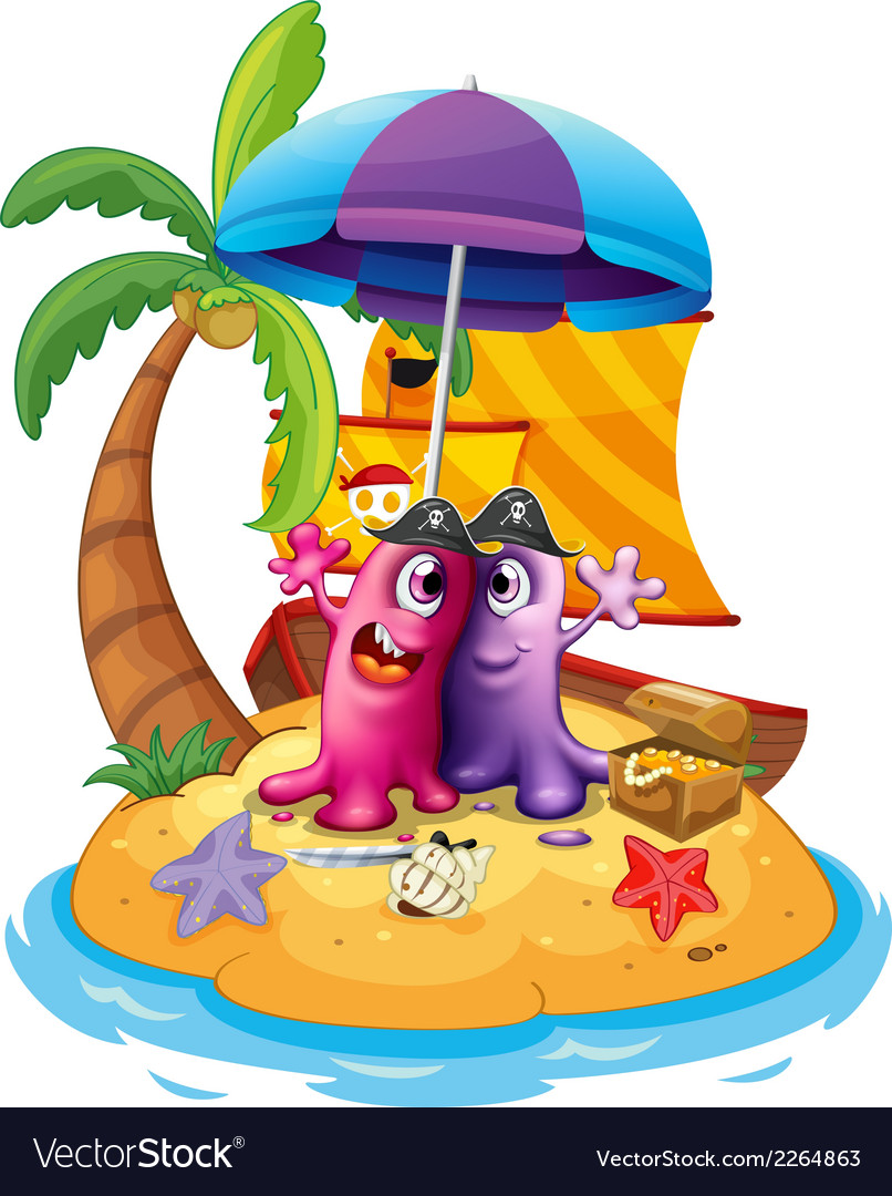 A beach with two monsters vector | Price: 1 Credit (USD $1)