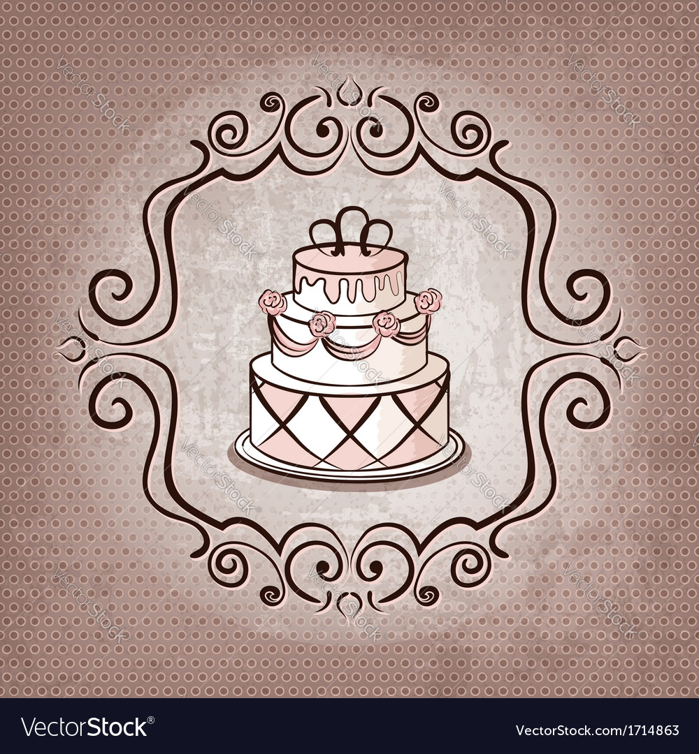 Cake on polka dot background vector | Price: 1 Credit (USD $1)