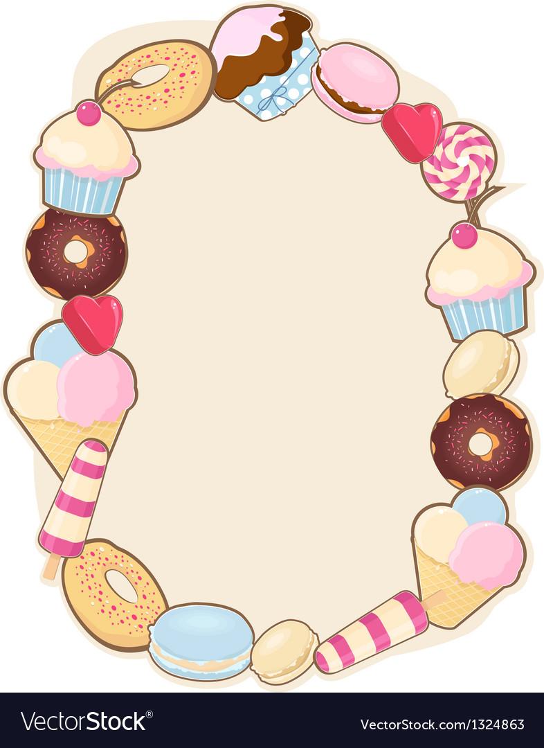 Desserts frame vector | Price: 1 Credit (USD $1)