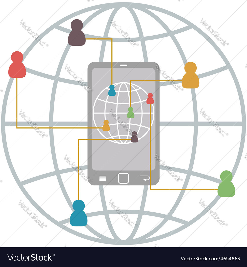 Flat mobile infographic of communication connect vector | Price: 1 Credit (USD $1)