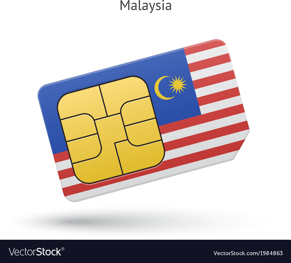 Malaysia mobile phone sim card with flag vector   Price: 1 Credit (USD $1)