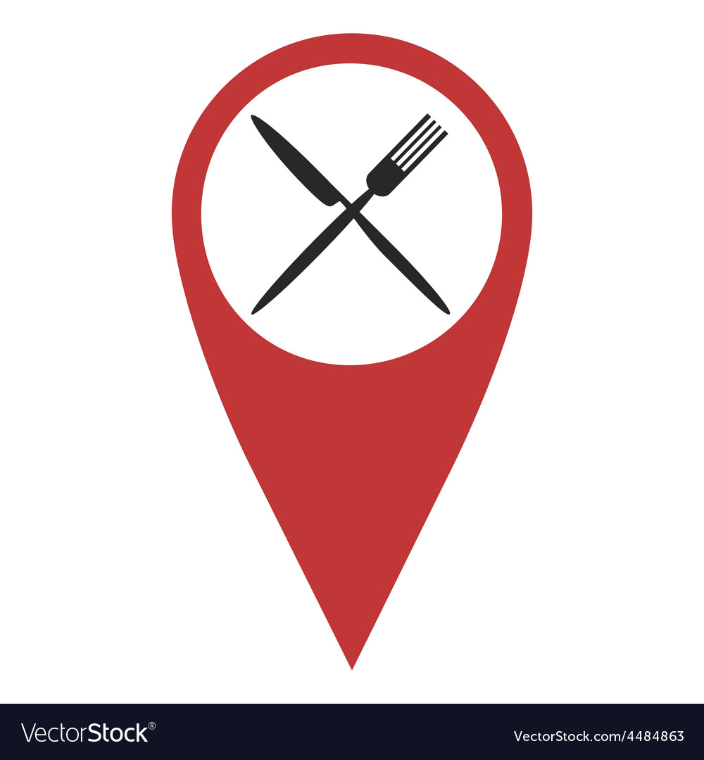 Red geo pin with fork and knife vector | Price: 1 Credit (USD $1)