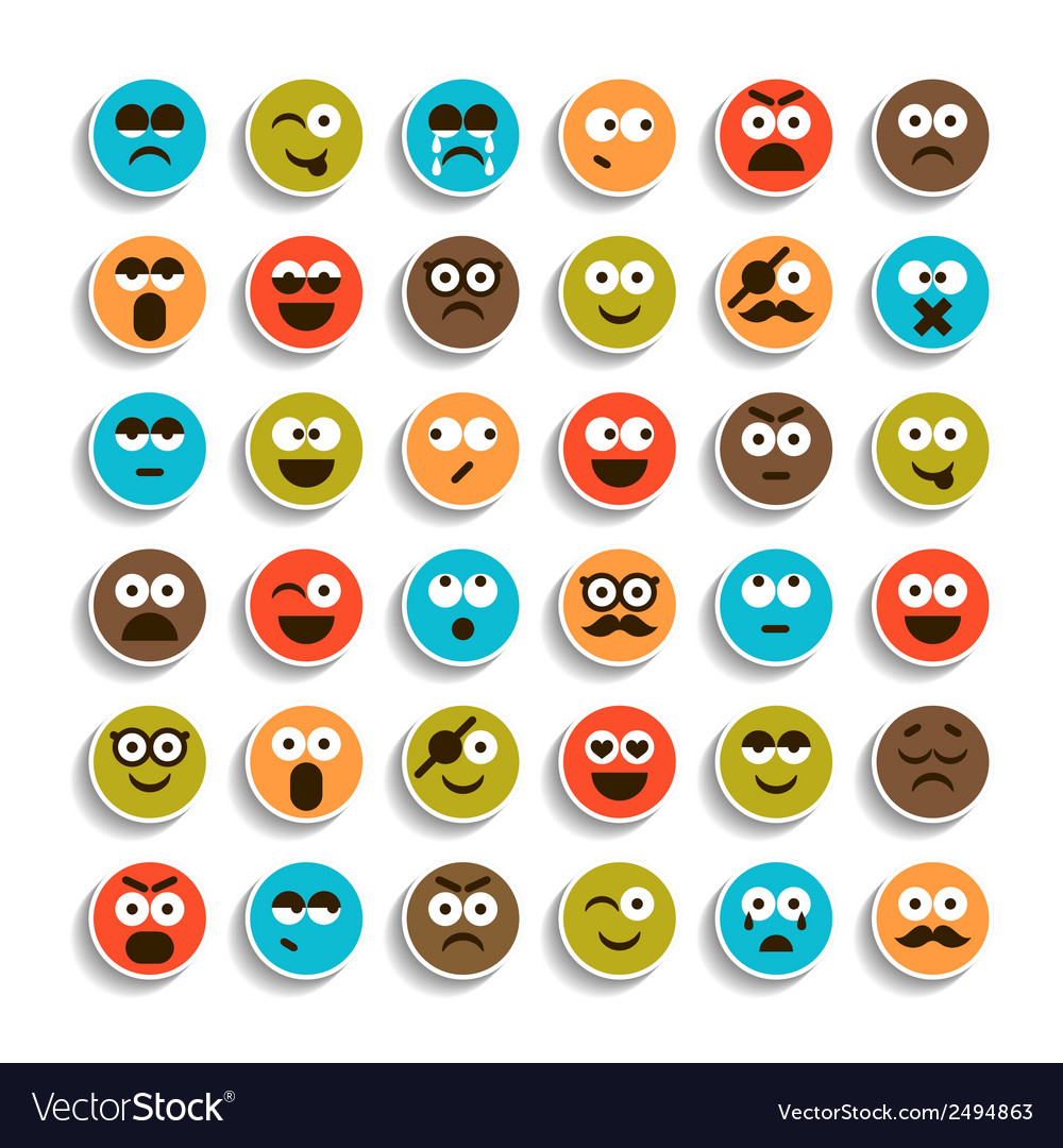 Set of emotion smiling faces vector | Price: 1 Credit (USD $1)