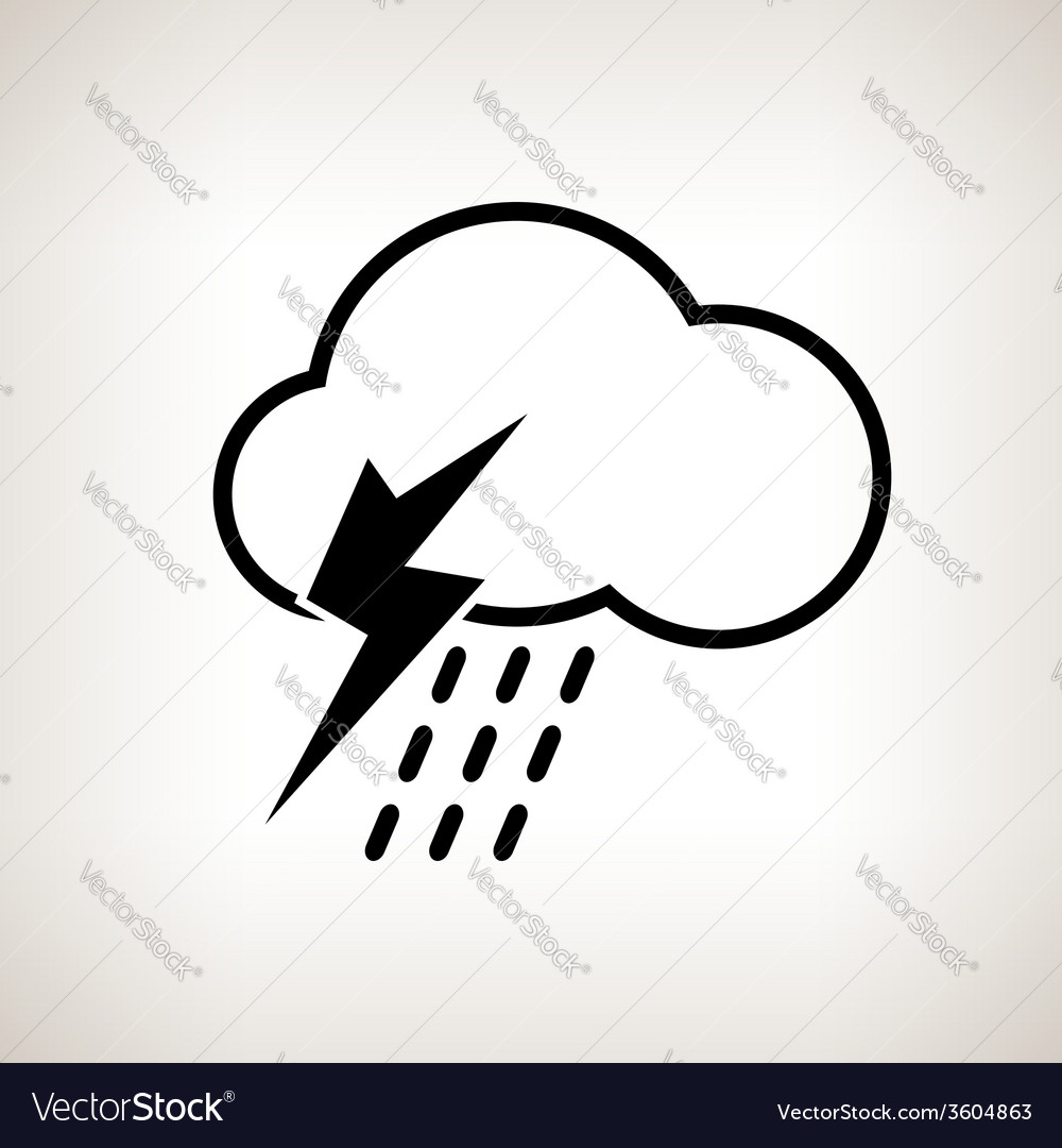 Silhouette cloud with thunderstorm vector | Price: 1 Credit (USD $1)