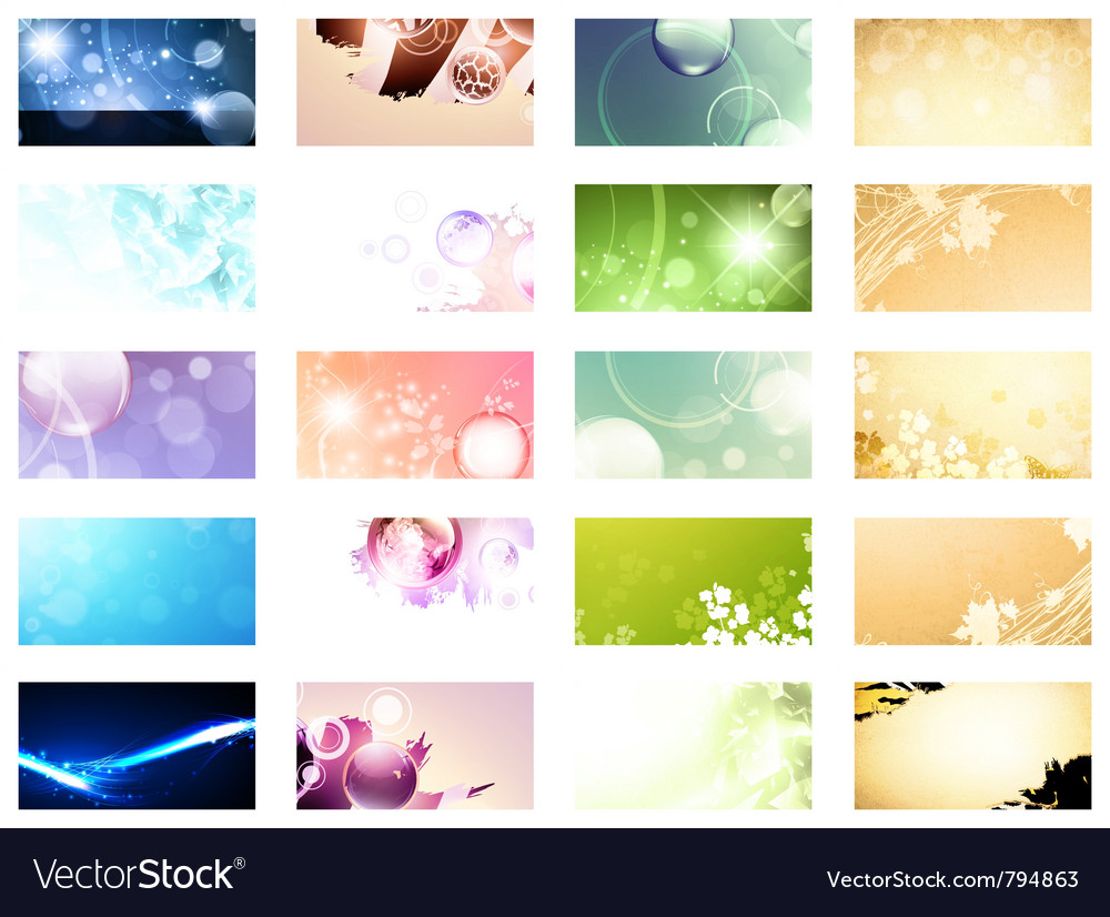 Variety of 20 horizontal business cards templates vector | Price: 3 Credit (USD $3)