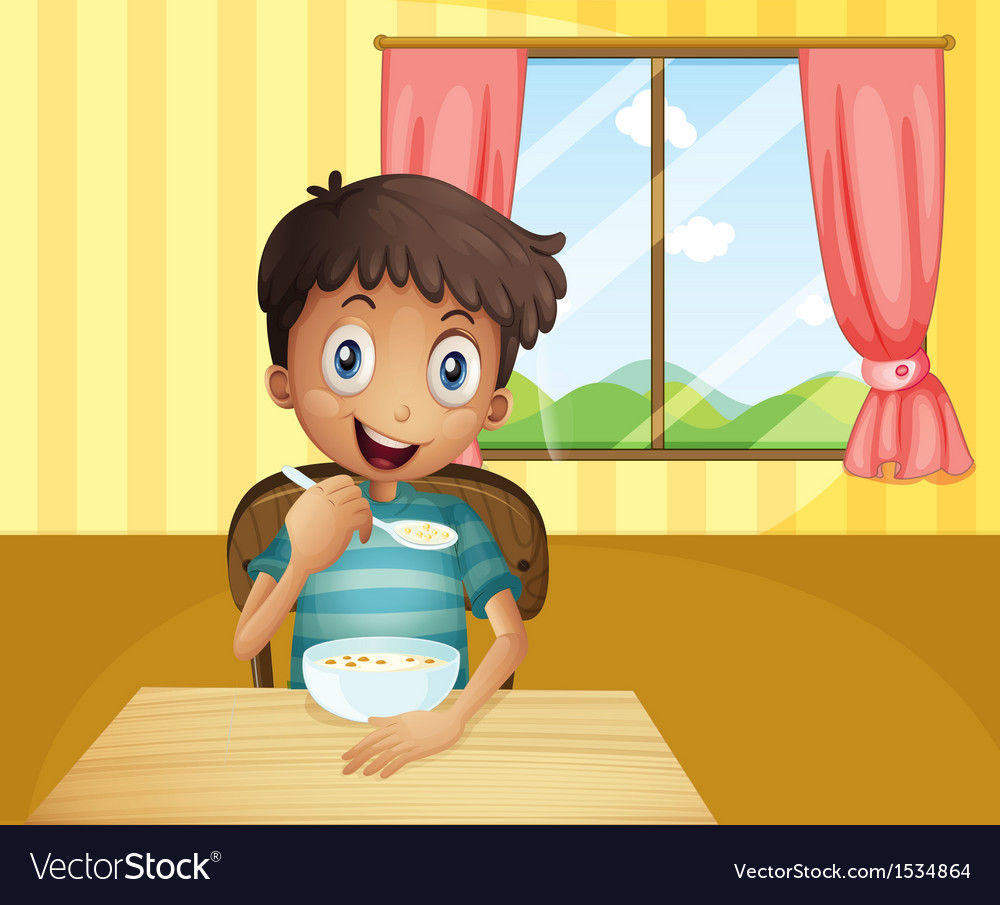 A boy eating cereals inside the house vector | Price: 1 Credit (USD $1)