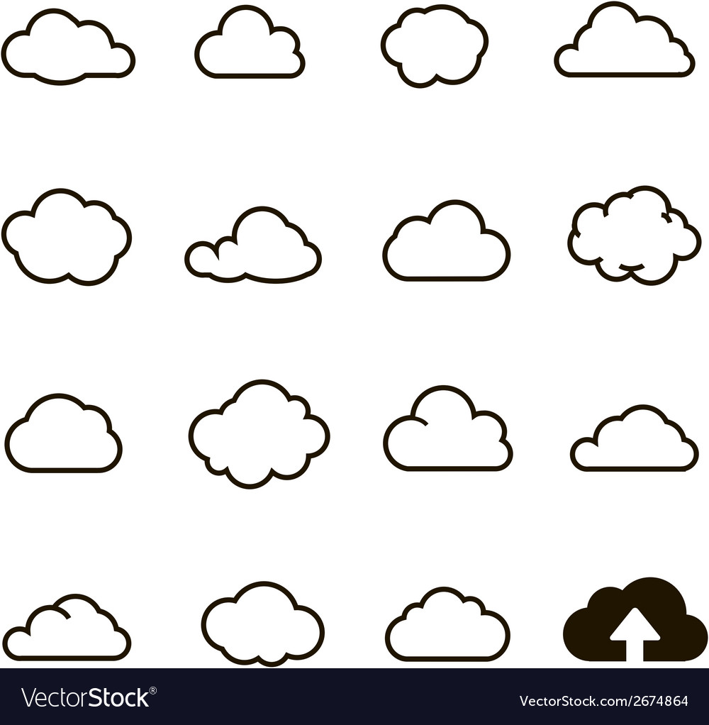 Cloud shapes collection cloud icons for cloud vector | Price: 1 Credit (USD $1)