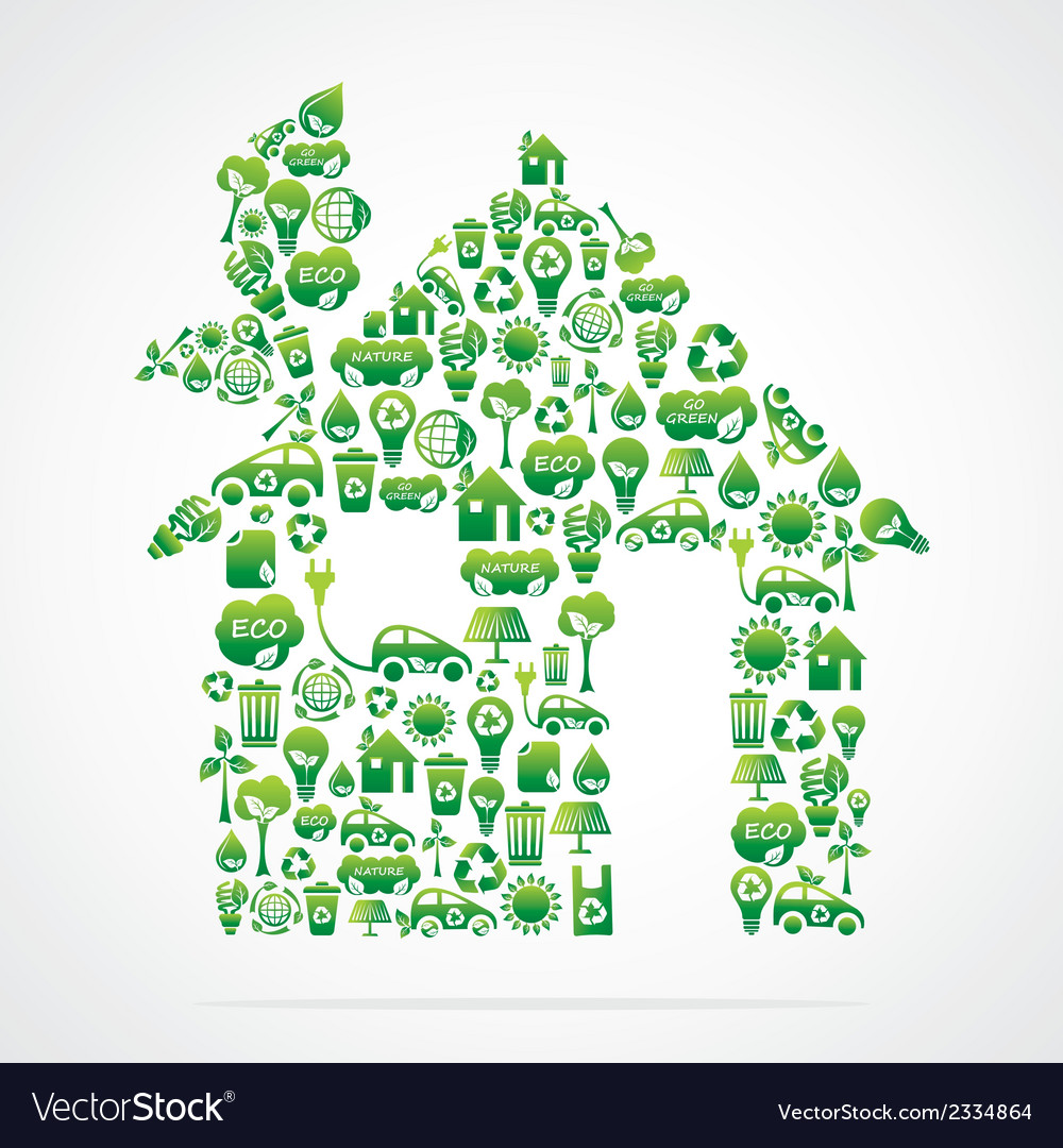 Creative green home design vector | Price: 1 Credit (USD $1)