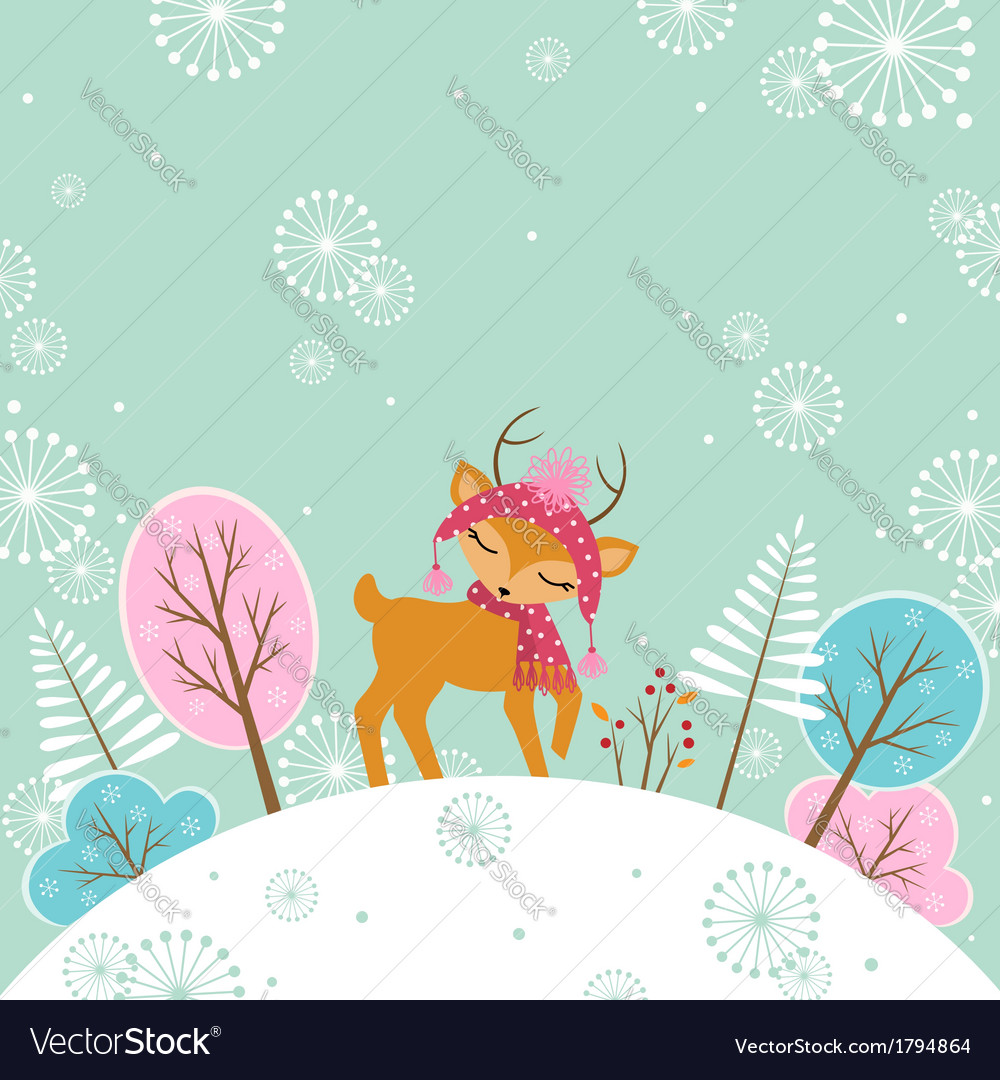 Cute winter deer vector | Price: 1 Credit (USD $1)