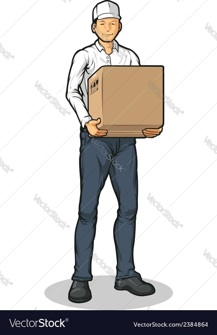 Delivery man bringing carton box vector | Price: 1 Credit (USD $1)