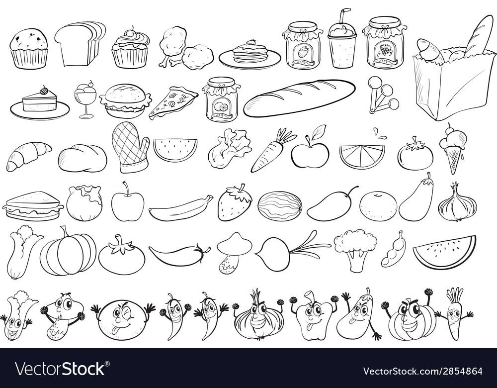 Doodles food vector | Price: 1 Credit (USD $1)