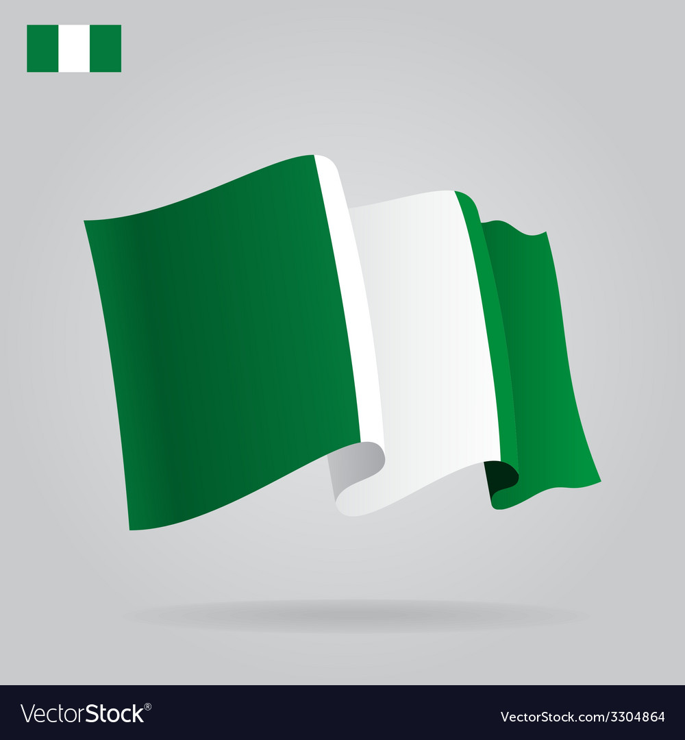 Flat and waving nigerian flag vector | Price: 1 Credit (USD $1)