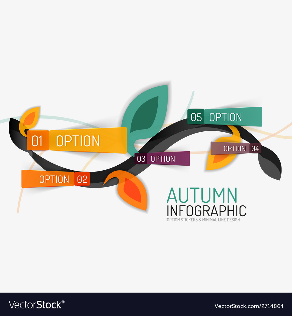 Floral swirl autumn infographic report minimal vector | Price: 1 Credit (USD $1)