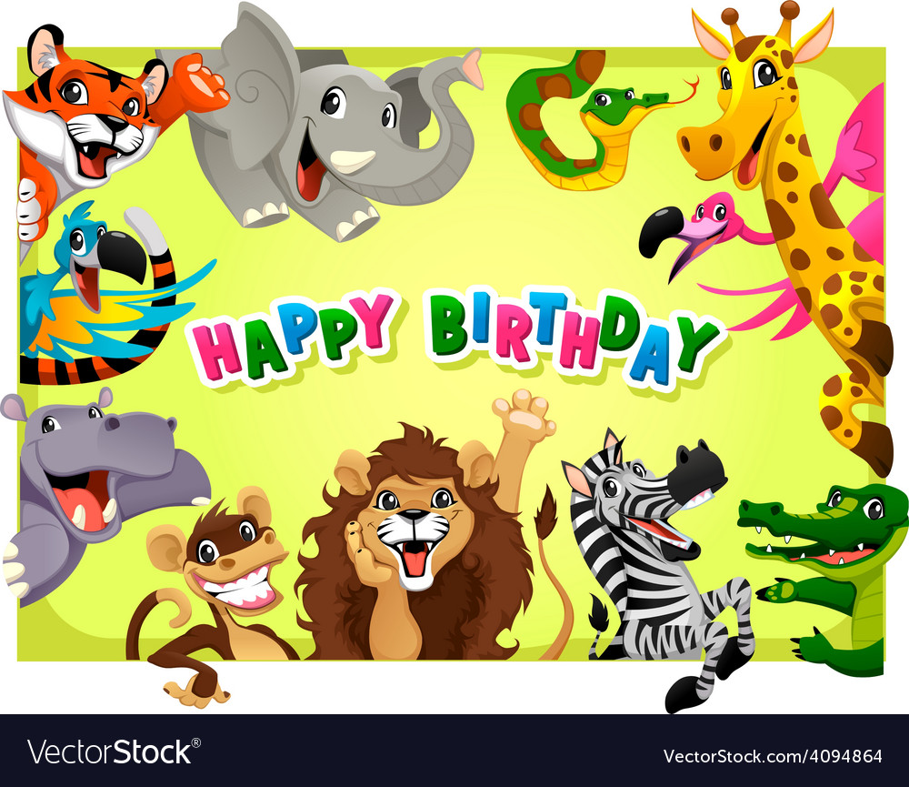 Happy birthday card with jungle animals vector | Price: 3 Credit (USD $3)
