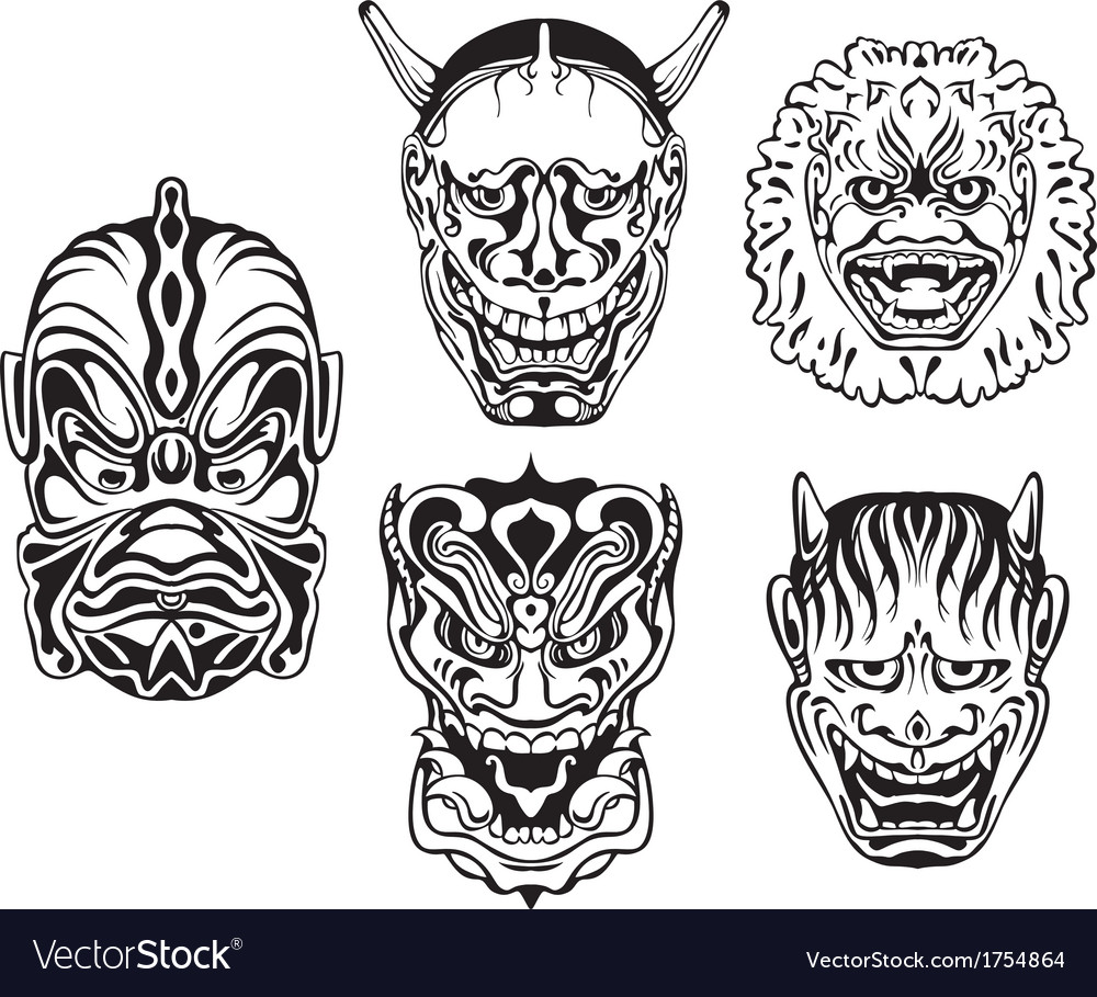 Japanese demonic noh theatrical masks vector | Price: 1 Credit (USD $1)