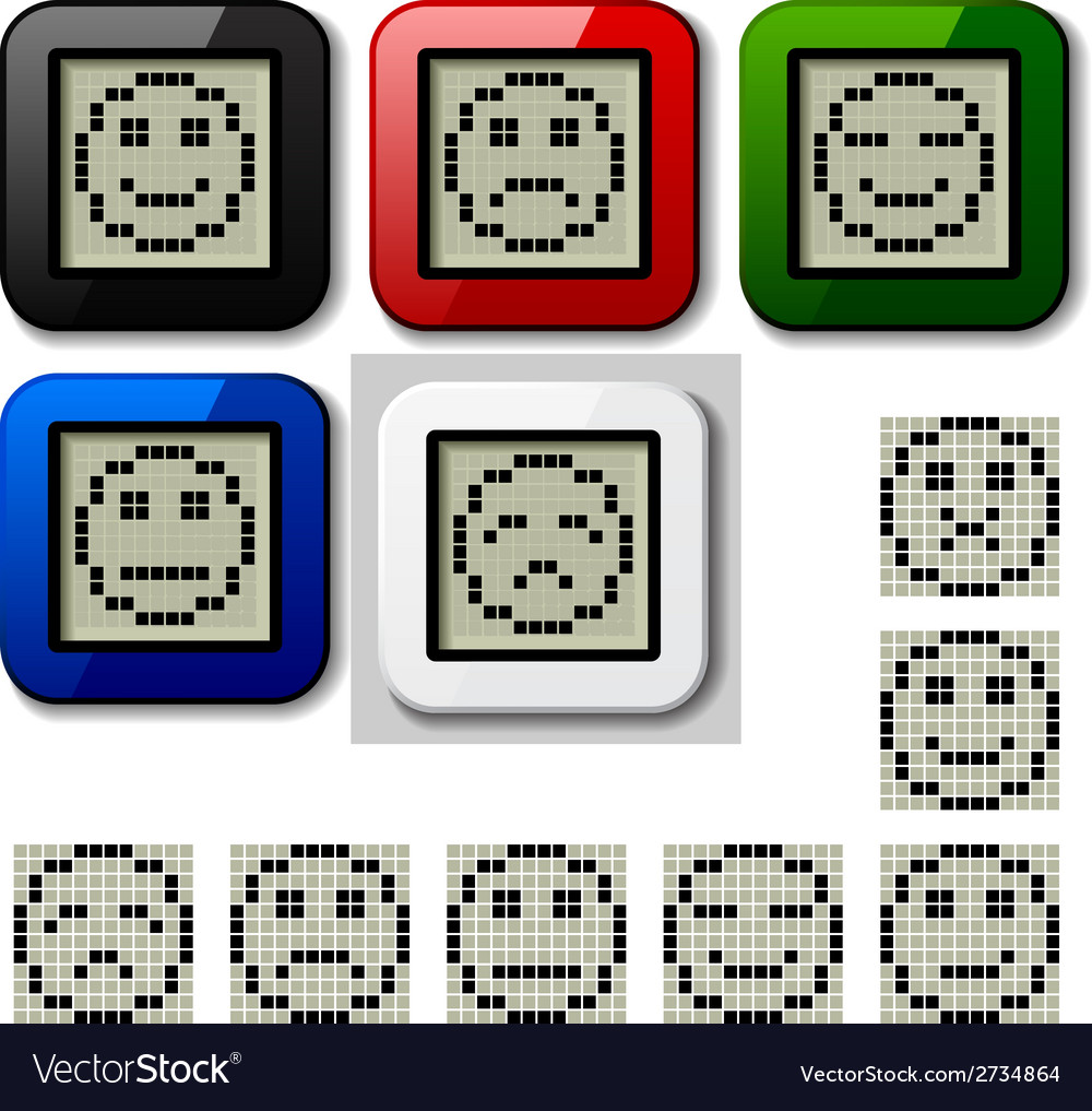 Lcd display pixel smiley faces vector | Price: 1 Credit (USD $1)