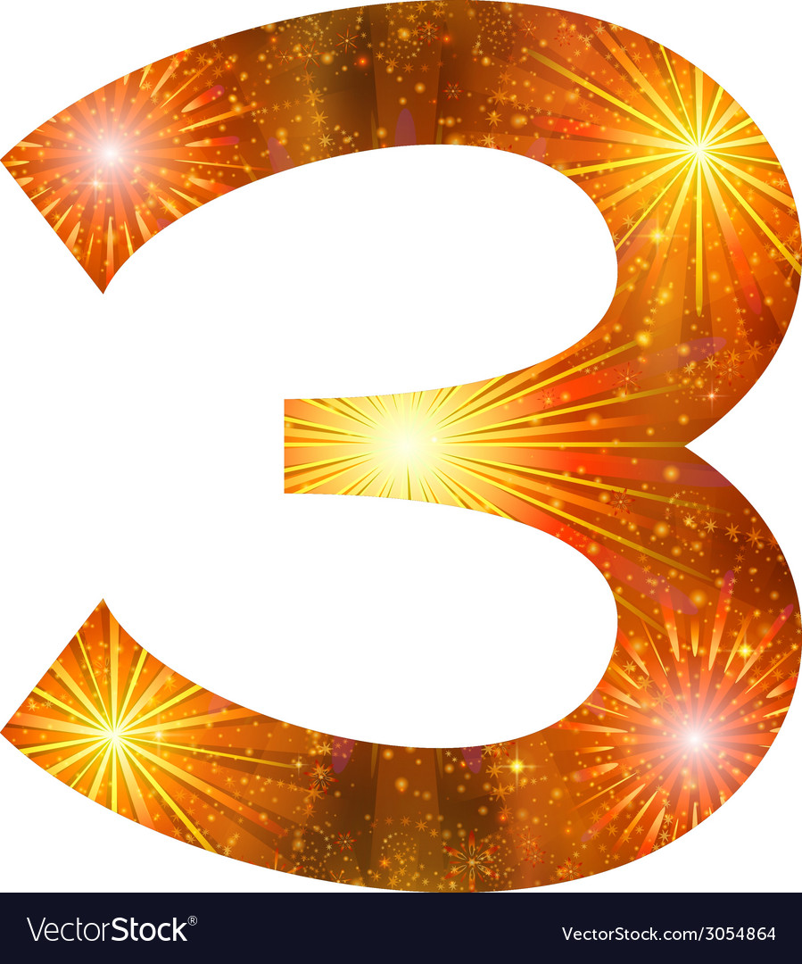 Number of orange firework three vector | Price: 1 Credit (USD $1)