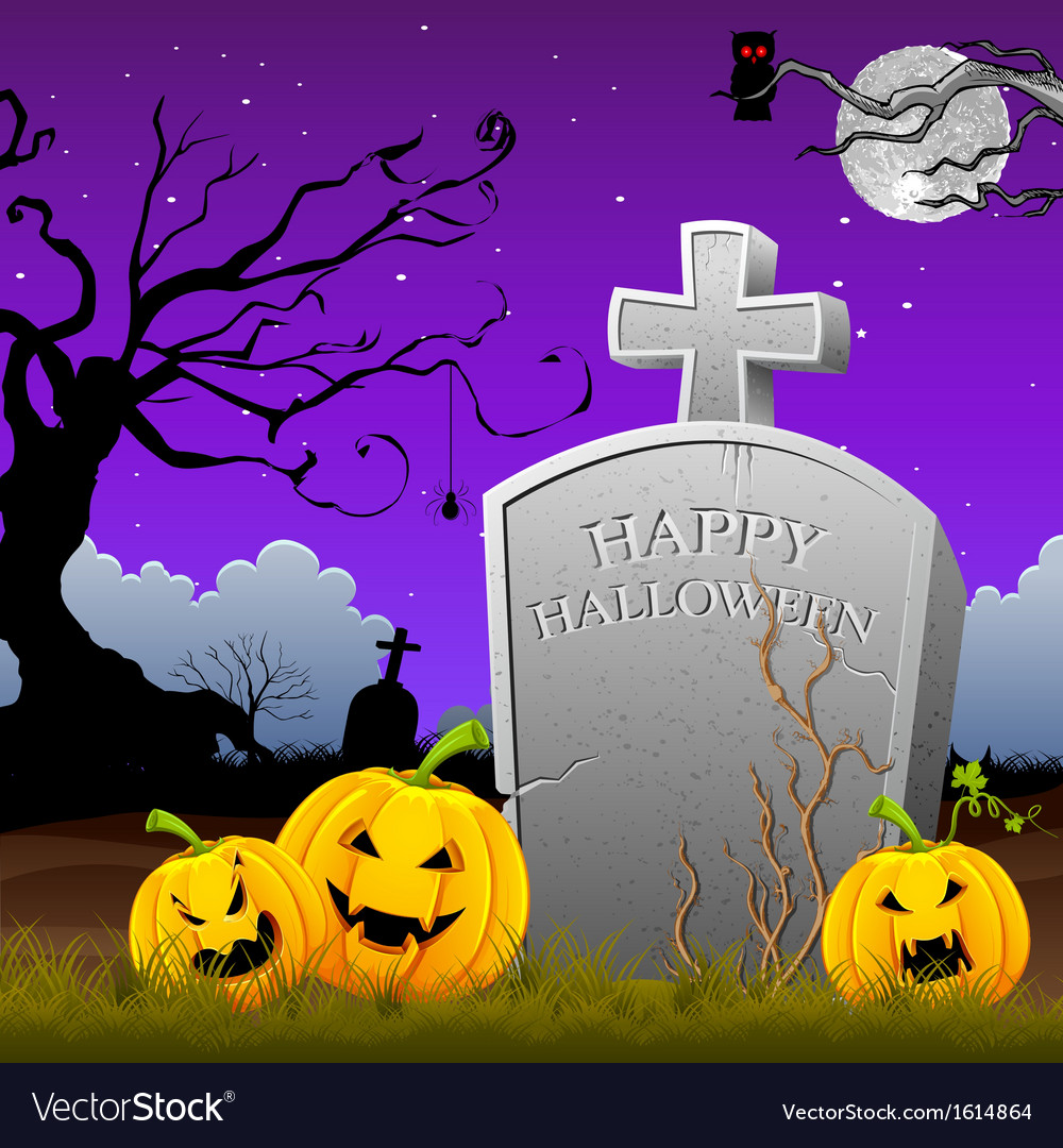 Pumpkin around tomb stone vector | Price: 1 Credit (USD $1)