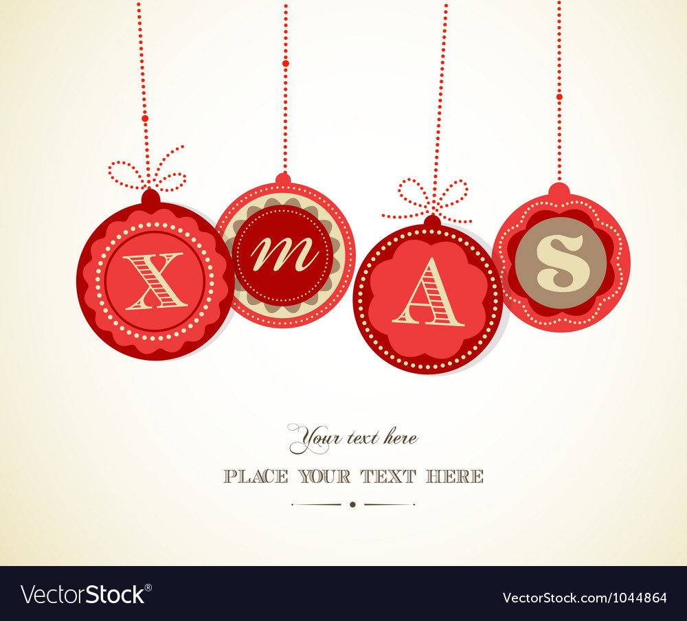Retro christmas balls with text space vector | Price: 1 Credit (USD $1)