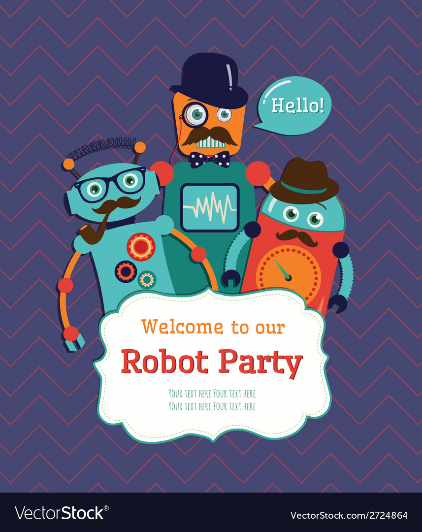Robot party invitation card design vector | Price: 1 Credit (USD $1)