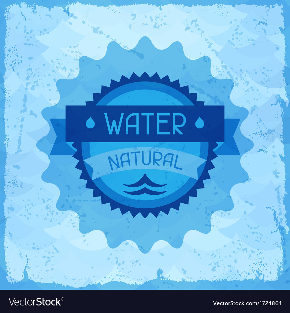 Water natural background in retro style vector | Price: 1 Credit (USD $1)