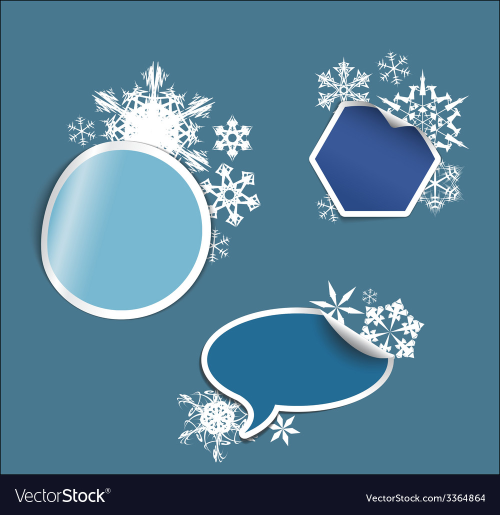 Winter labels stickers pointers tags vector | Price: 1 Credit (USD $1)