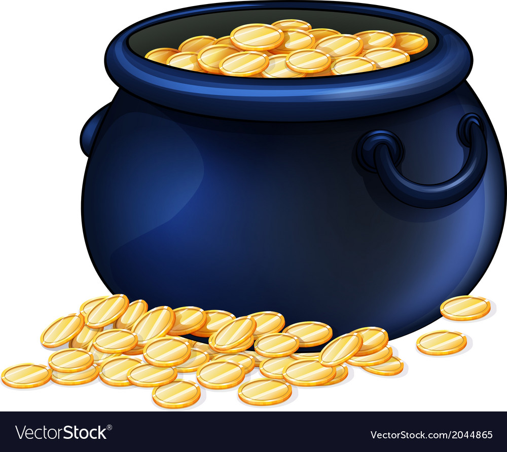 A pot of gold coins vector   Price: 1 Credit (USD $1)