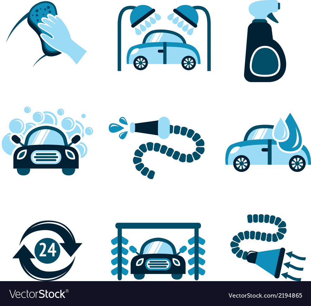 Car wash icons vector | Price: 1 Credit (USD $1)